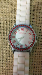 Geneva Red Crystals White Silicone Band Watch Pre-owned Needs New Battery