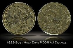 1829 Capped Bust Half Dime Pcgs Au Details W/ Pf Initials Carved Love Token 5c