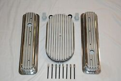 Finned Small Block Chevy Center Bolt Valve Covers + 15 Oval Air Cleaner Filter
