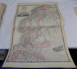 Late 1860s Antique Color Map///territory Of Alaska