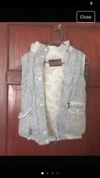 Womens White Grey Geometric Pattern Faux Fur Lined Hooded Bodywarmer