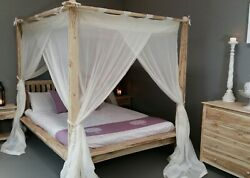 Canopy Rumple Muslin Mosquito Net For Balinese Four Poster Bed Kingqueendouble