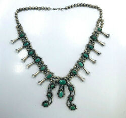 Vintage Native American Silver And Turquoise Squash Blossom Necklace, F Barker