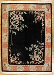 Black Rug 9and039 X 13and039 1and039and039 Thick Peking Art Deco Soft Wool Authentic Handmade Rug