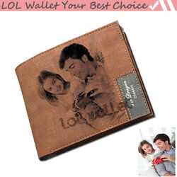 Custom Photo Wallet PU Leather Gift Wallet Personalized Slim Bifold Mens Wallet $18.50