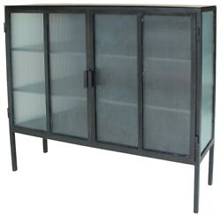 51 L Elide Sideboard Gunmetal Finished Iron Antique Style Opaque Glass