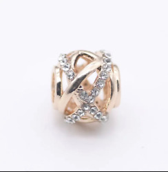 Galaxy Openwork Charm Round Silver Plated In Rose Gold Colour fits 925 Bracelets