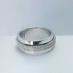 Asprey Keria 18k White Gold And Diamond 8mm Spinning Wide Band Ring