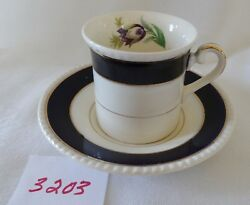 Soho English Demi Coffee Can And Saucer Cobalt Blue Bands 18k Gold Small Floral
