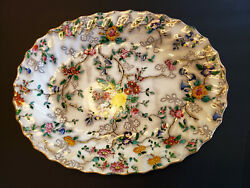 Copeland Spode Patricia 13 Serving Platter Yellow Trim Floral Scalloped China