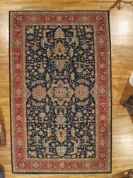 10and039 X 16and039 Oushak Navy Blue Handmade Fine Quality Silky Wool Peshawar Rug