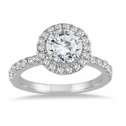 1 1/2 Carat Eternity Halo Diamond Ring | 14k White Gold | Ags Certified