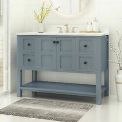 Jamison Contemporary 48 Wood Single Sink Bathroom Vanity With Marble Counter To