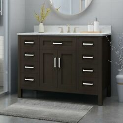 Greeley Contemporary 48 Wood Single Sink Bathroom Vanity With Marble Counter To
