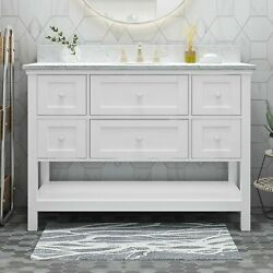 Douvier Contemporary 48 Wood Single Sink Bathroom Vanity With Marble Counter To