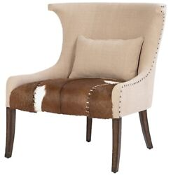 31 W Omar Occasional Chair Hide On Hair Leather Seat Exposed Tacks Winged Back