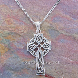 CELTIC CROSS Necklace celtic KNOT WORK Irish Pendant Sterling Silver 925 $19.99