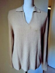 CHARTER CLUB 2 Ply Cashmere Cable Knit Polo Sweater Camel Brown Sz Large