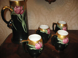 Antique Estate Rosenthal Stein And Tankard Set 5 Pcs. Embossed By Hand