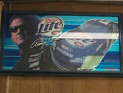 Very Rare Rusty Wallace Miller Lite Mirror. 38 1/2 Long By 2 1/2 Tall Free Ship