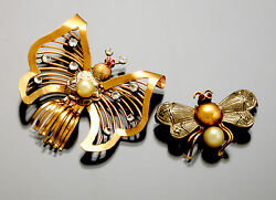 2 Vintage Gold Synthetic Diamond Ruby And Pearl Butterfly And Bumble Bee Insect Pins