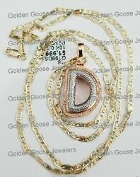 Rose Gold Bubble Letter Initial D Bling Diamond Charm 22 Inch Valentino Chain