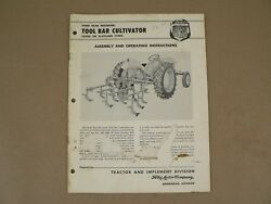 Ford Tractor And Implement Rear Mounted Tool Bar Cultivator Owners Manual 1957