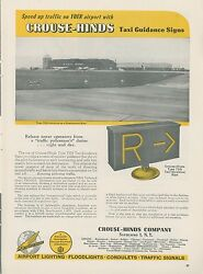 1953 Crouse Hinds Ad Airport Runway Ramp Taxi Guidance Signs Lights Aviation