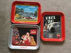 3 New Coca Cola Trays Made In Usa - Santa - Bear - Diner - Made In 1990's