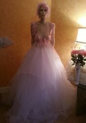 Pink And White Fantasy Goddess Crystal Sequin Tulle Bridal Ballgown Bohemian Beach