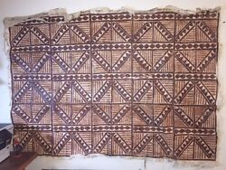 Rare 1 Of A Kind Hand Painted Tapa Cloth History Art Large Wall Size 4x5 Feet
