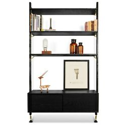 83 T Bookshelf With Drawer Brass Hardware Hand Crafted Solid Oak Charred Finish