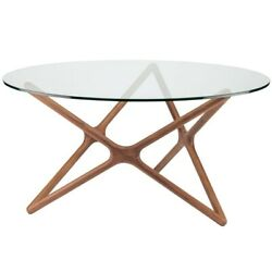 44 W Dining Table Tempered Glass Top Walnut Stained Solid Ash Wood Star Base