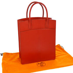 Auth HERMES WHITE BASS UP Hand Tote Bag Red Chevre Coromandel France AK33297b