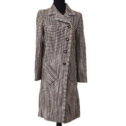 Cc Button Long Sleeve Tweed Coat Jacket Brown White 01a 36 Gs01276j
