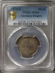 Antique 1874-g Germany Silver 1 Mark Pcgs Slabbed Graded Ms63 Totally Original