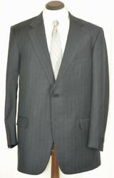 Minty 2295 2btn Side Vent Charcoal Grey Pinstripe Suit 44 L