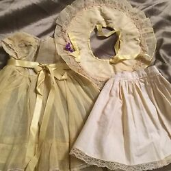 Doll Terri Lee Clothing Yellow Garden Party Dress Hat And Slip 1950s