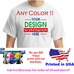 Personalized Custom printed  t-shirt  any color print text photo logo   $12.99