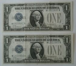 2 Consecutive Sequential 1928a Funnyback 1 Bill Silver Certificates Old Us Note