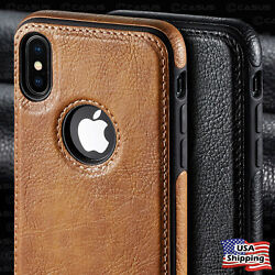 For iPhone XR XS MAX 8 7 Plus SLIM Luxury Leather Back Ultra Thin TPU Case Cover