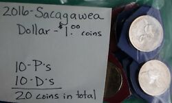 2016 P And D Sacagawea One Dollar Coin Lot Of 20 1 Native American 10p 10 D