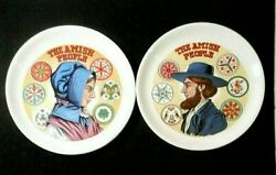 Pair Decorative Plates The Amish People Man And Woman