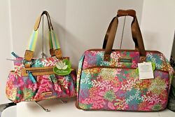 Lily Bloom Floral Reef Pink Wheeled duffel Landon Triple Section Satchel Set NWT