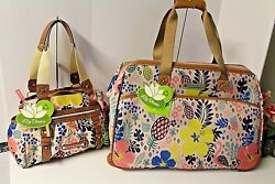 Lily Bloom Wheeled duffel Landon Triple Section Satchel Set TROPICAL PINEAPPLE