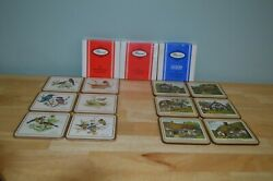 3 Sets Of Pimpernel Cork-backed Coasters European Birds And English Cottages