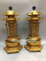 73 CM China Royal Pure Bronze 24K Gold Dragon pavilion candlestick candleholder