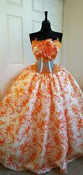Ivory & Orange Pure Silk Floral Lace Embroidery Renaissance Bridal Wedding Gown