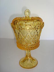 Royal Crown 9 Depression Amber Glass Candy Jar Covered Footed Compote - Perfect
