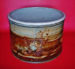 Large 11w X 8h Studio Pottery Jar With The Base Embosed With The Maker's Marks